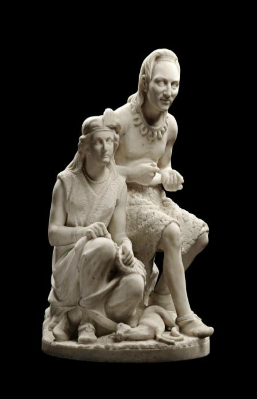 Edmonia Lewis, Old Arrow Maker , modelado en 1866, tallado en 1872, mármol, Smithsonian American Art Museum, Obsequio del Sr. y la Sra. Norman Robbins, 1983.