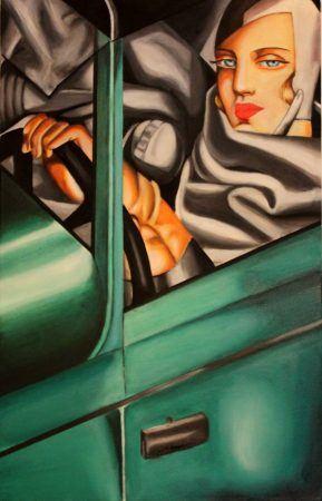 Tamara de Lempicka. Autorretrato en un Bugatti verde.