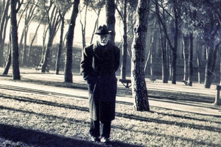 Pío Baroja en el Retiro. 1950. Nicolas Muller.
