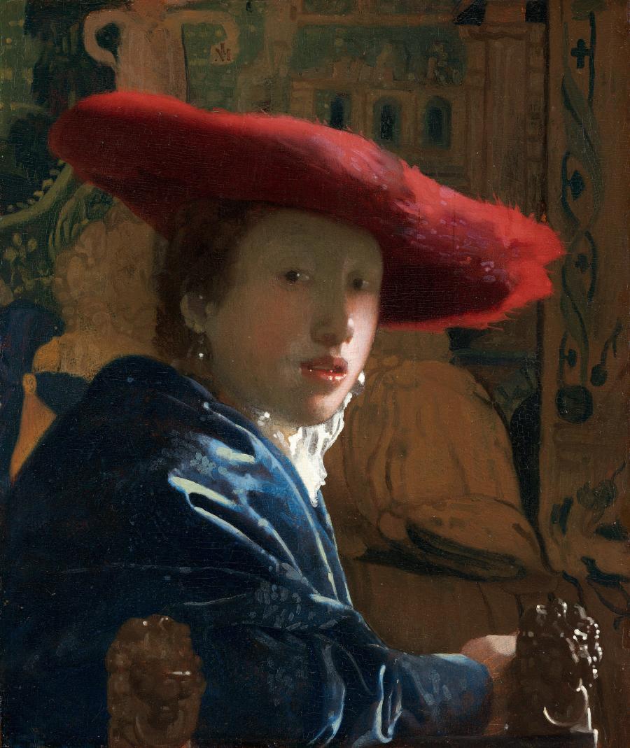 ¿Por qué nos mira así la joven de la perla? (I). Mujer con sombrero rojo. Johannes Vermeer. 1665-1666. National Gallery of Art (Washington).