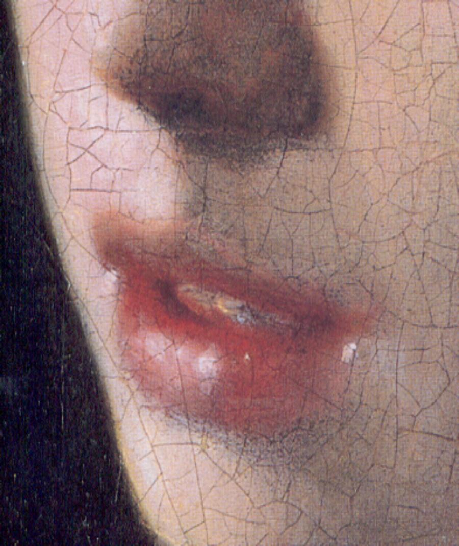 ¿Por qué nos mira así la joven de la perla? (II). Detalle. La joven de la perla. Johannes Vermeer. 1665-1666. Museo Mauritshuis (La Haya).