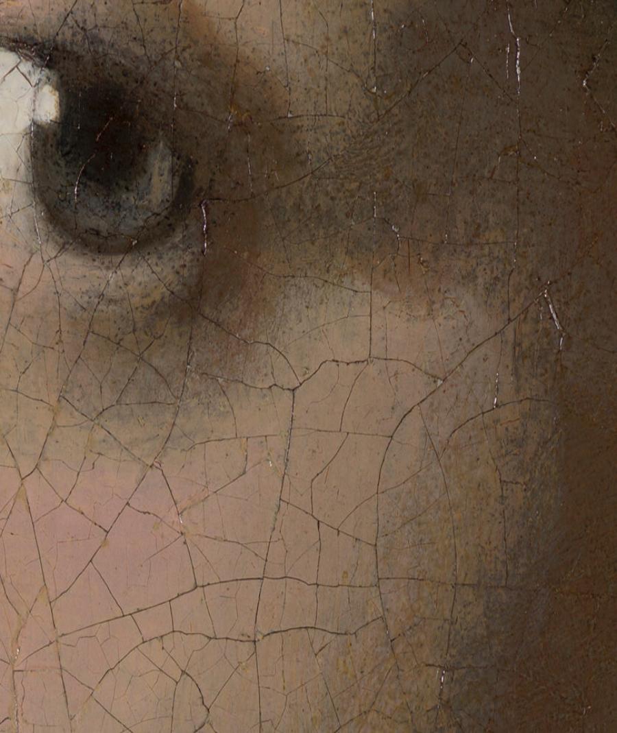 La joven de la perla. Johannes Vermeer. 1665-1666. Museo Mauritshuis (La Haya). Transición entre tres tonos marrones en su pómulo