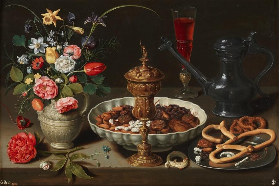 Clara Peeters. Bodegón con flores, copa de plata dorada, almendras, frutos secos, dulces, panecillos, vino y jarra de peltre. ©Museo Nacional del Prado.