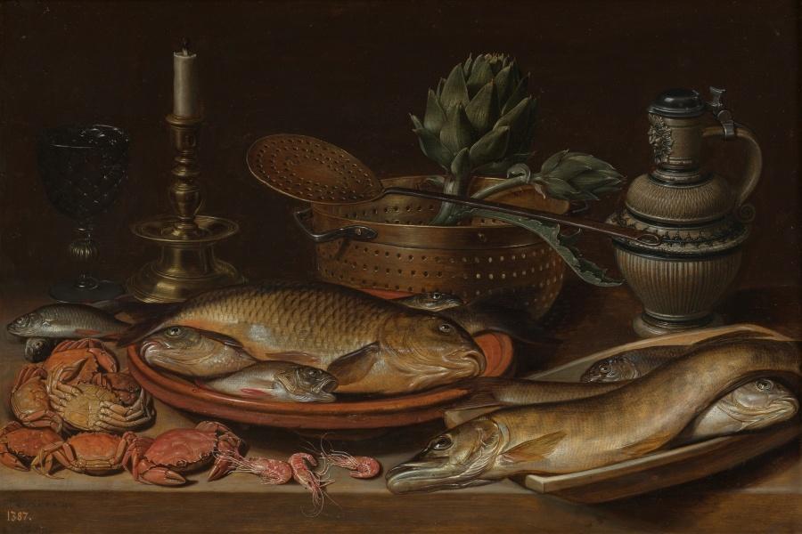 Clara Peeters. Bodegón con pescado, vela, alcachofas, cangrejos y gambas. 1611. ©Museo Nacional del Prado.